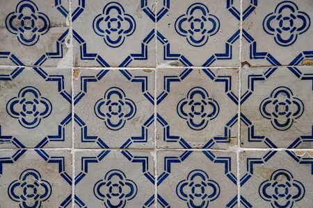 Lisbon, Portugal - July 26, 2019: Vintage azulejos, traditional Portuguese tiles 版權商用圖片
