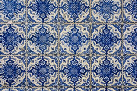 Lisbon, Portugal - July 26, 2019: Vintage azulejos, traditional Portuguese tiles 스톡 콘텐츠