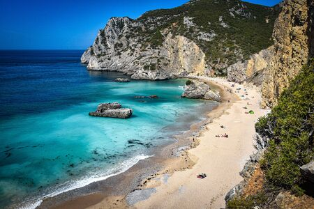 Praia Ribeira do Cavalo, a hidden beach near the town of Sesimbra, Portugal