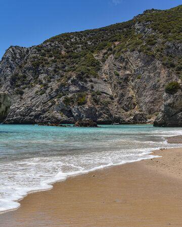 Praia Ribeira do Cavalo, a hidden beach near the town of Sesimbra, Portugal