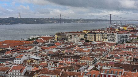 Views over Lisbon and the River Tagus from the castle of Sao Jorge, Alfama