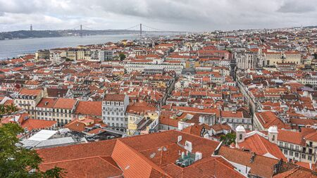 Views over Lisbon and the River Tagus from the castle of Sao Jorge, Alfama 스톡 콘텐츠 - 129484805