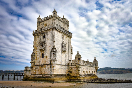 Lisbon, Portugal - July 26, 2019: Belem Tower, a medievel fortress overlooking the Tagus river estuary 에디토리얼