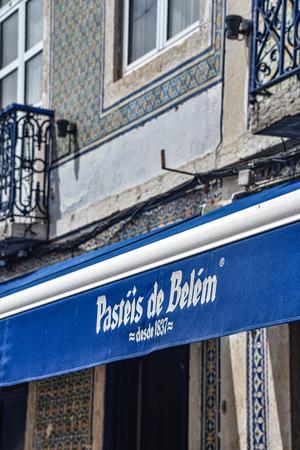 Lisbon, Portugal - July 28, 2019: Pasteis de Belem, a famous traditional bakery in the Belem district of Lisbon