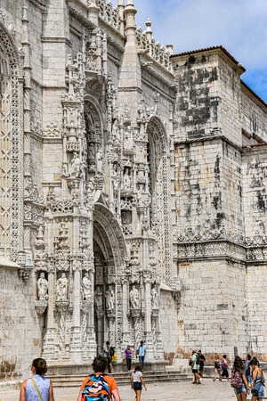 Lisbon, Portugal - July 26, 2019: Stone varving details on the World Heritage listed Jeronimos Monastery in Belem