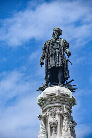 Lisbon, Portugal - July 26, 2019: Statue in the Afonso de Albuquerque Garden, Belem