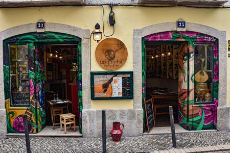 Lisbon, Portugal - July 27, 2019: Fado restaurant in the Alfama district of Lisbon