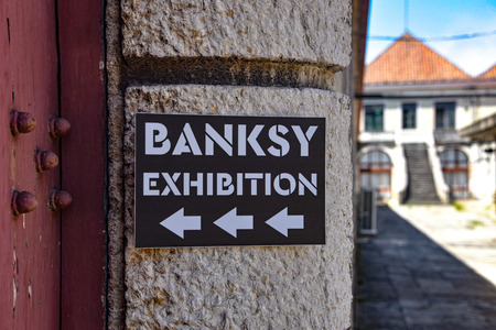 Lisbon, Portugal - July 26, 2019: Genius or Vandal exhibition of works by the artist Banksy at the Cordoaria Nacional