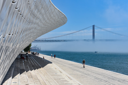 Lisbon, Portugal - July 25, 2019: Views along the Tagus River from the MAAT Museum in Belem
