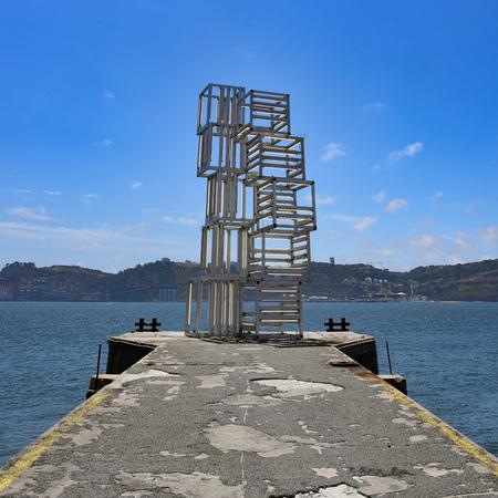 Lisbon, Portugal - July 26, 2019: Modern art sculpture on the banks of the Tagus River in Belem Stock fotó - 129476550