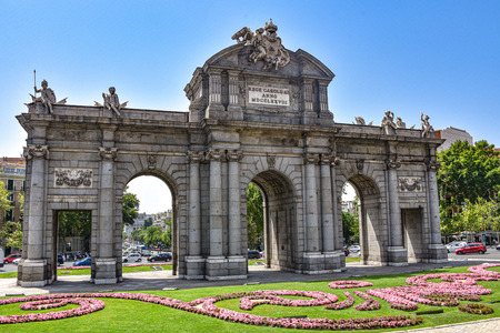 Madrid, Spain - July 22, 2019: Puerta de Alcala arch in Plaza de la Independencia