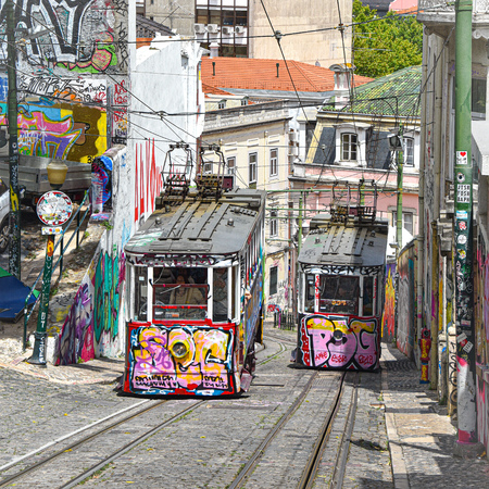 Lisbon, Portugal - July 27, 2019: The Gloria Funicular (Ascensor da Gloria) near Bairro Alto station 에디토리얼