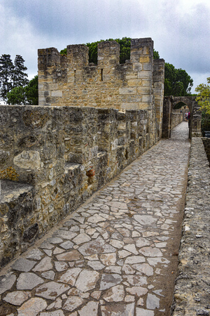 Lisbon, Portugal - July 27, 2019: External wall and towers of the Lisbon Castle (Castelo de Sao Jorge) Editorial