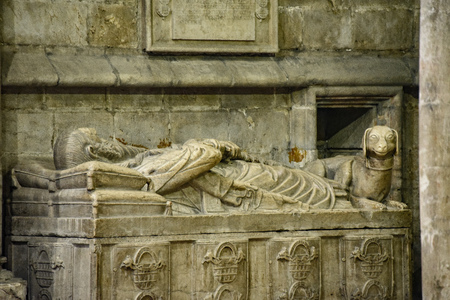 Lisbon, Portugal - July 27, 2019: Lisbon Cathedral. Gothic tomb of knight Lopo Fernandes Pacheco