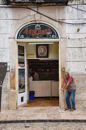 Lisbon, Portugal - July 27, 2019: A Ginginha, a famous bar dedicated to Ginginha, a traditional Sour Cherry Brandy 에디토리얼
