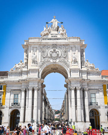 Lisbon, Portugal - July 23, 2019: Praca do Comercio, public plaza on the banks of the Tagus river 에디토리얼
