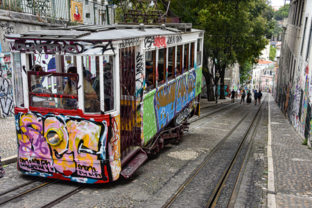 Lisbon, Portugal - July 27, 2019: The Gloria Funicular (Ascensor da Gloria) near Bairro Alto station 에디토리얼