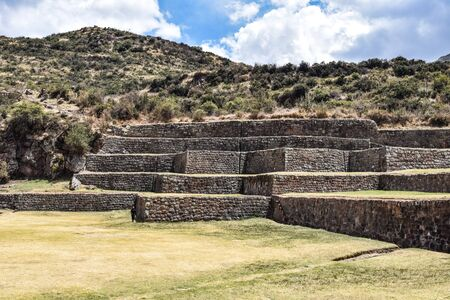 Inca stone terraces at the Tipon archaeological site, just south of Cusco, Peru