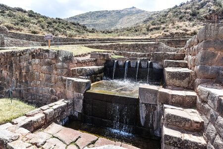 Inca water channels and fountains at the Tipon archaeological site, just south of Cusco, Peru