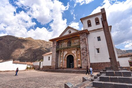 Exterior facade of the Barroque-style church of Andahuaylillas, near Cusco, Peru Banco de Imagens