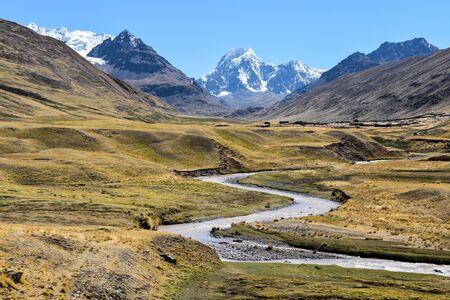 Rio Chillcamayo and Mt Mariposa on the Ausangate trail. Cusco, Peru