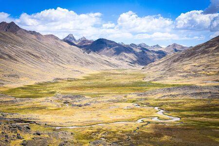 Views along the Phinaya valley in the Cordillera Vilcanota. Ausungate, Cusco, Peru