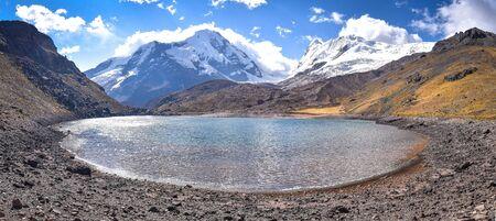 The turqoise waters of Lago Cochajasa at the foot of Mt Ausangate. Cusco, Peru