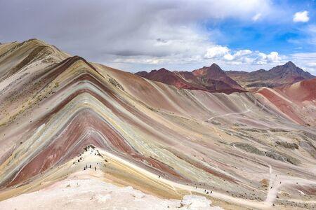 The natural colors of the Vinicuna 'rainbow mountain'. Cordillera Vilcanota, Cusco, Peru