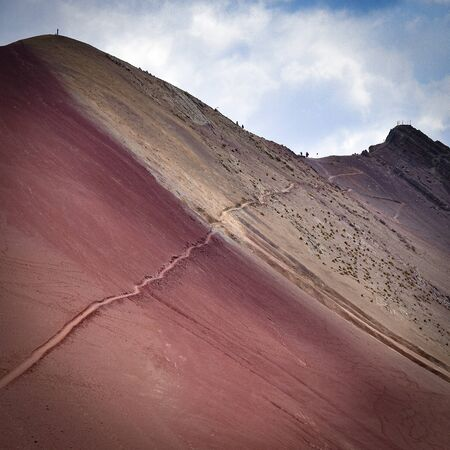Colourful rock formations in the mineral-rich mountains of Red Valley. Cordillera Vilcanota, Cusco, Peru 스톡 콘텐츠