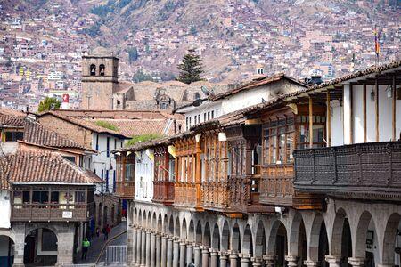 Cusco, Peru - Sept 26, 2019: Balconies and architecture of Cusco's Plaza de Armas