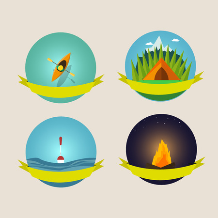 camping equipment: Set of camping equipment symbols and icons design element Illustration