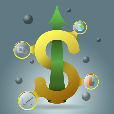growing up: yellow dollar symbol with growing up  arrow green