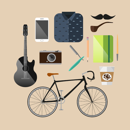 lomo: Vintage Hipster infographic concept background with icons set Illustration