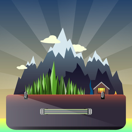 lodge: illustration mountain forest and hunting lodge in the suitcase on the background of the dawn