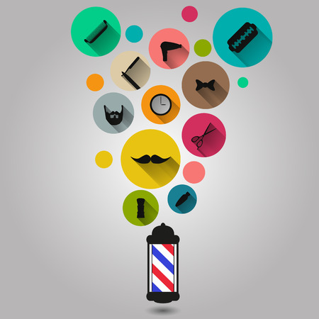 set of men hair styling: Vintage barber shop tools silhouette icons set eps 10