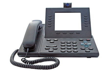 ip camera: Voice over IP phone with large blank screen for your own or message with a clipping path on an isolated background