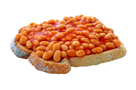 beans on toast: Beans on toast on an isolated white background with a clipping path Stock Photo