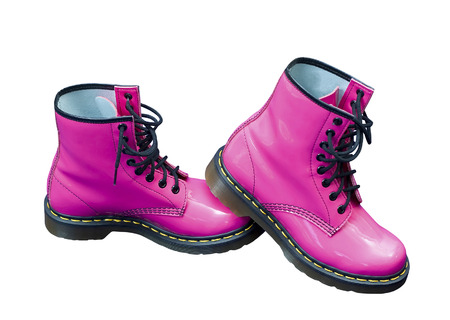 safety boots: Hot pink protective safety boots on an isolated white background with a clipping path