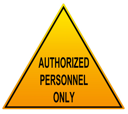 and spelling: Authorised Personnel Only triangle warning sign available in English spelling and American spelling on an isolated white background