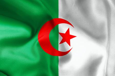 algerian flag: Algerian flag texture crumpled up Stock Photo