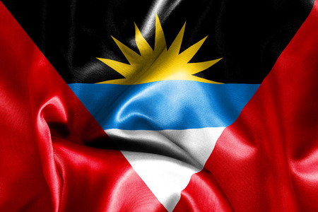 scrunch: Antigua and Barbuda flag texture creased and crumpled up with light and shadows