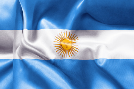 creased: Argentina flag texture creased and crumpled up with light and shadows
