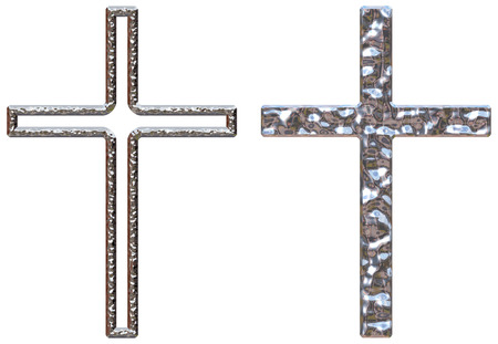 crucifixes: Crucifixes with a chrome effect one solid and one hollow on a white isolated background Stock Photo