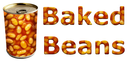 tinned: Baked beans can along with textured words on an isolated white background with a clipping path Stock Photo