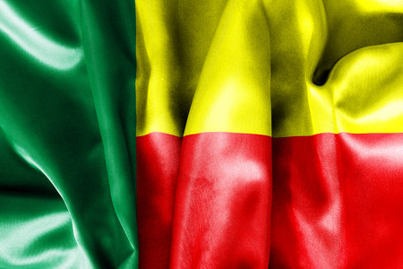 benin: Benin flag texture crumpled up Stock Photo