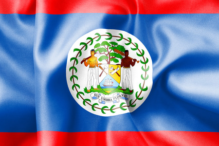 scrunch: Belize flag texture creased and crumpled up with light and shadows Stock Photo