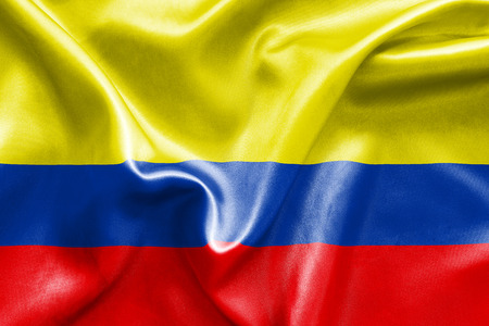 republic of colombia: Colombian flag texture crumpled up