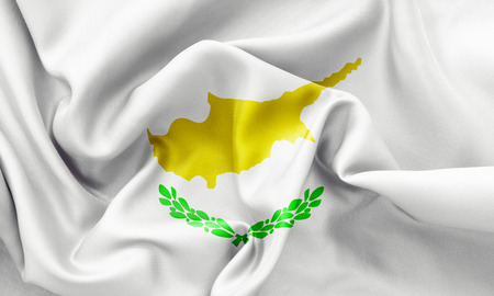 creased: Cyprus flag texture creased and crumpled up with light and shadows