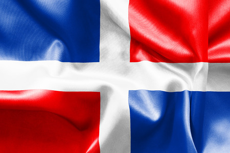 scrunch: Dominican Republic flag texture crumpled up Stock Photo