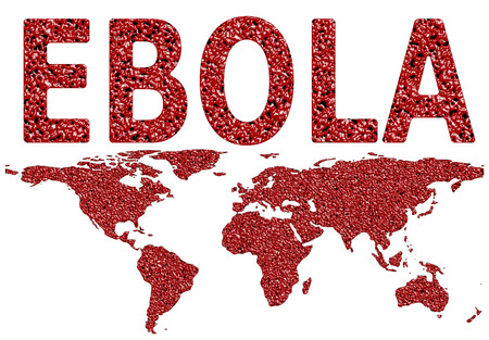 pandemic: Ebola virus worldwide spread droplet textured map on an isolated white background with a clipping path
